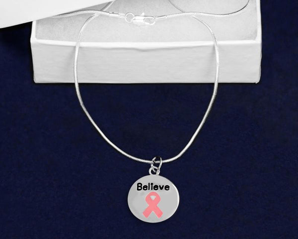 12 Circle Believe Pink Ribbon Necklaces (12 Necklaces)