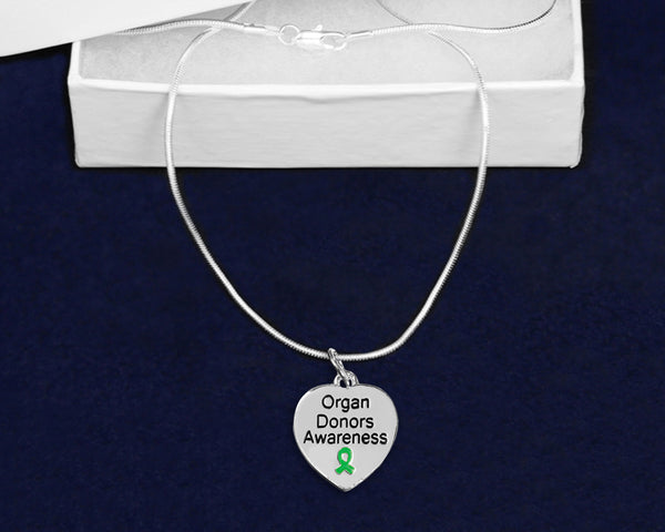 12 Organ Donors Awareness Heart Necklaces (12 Necklaces)