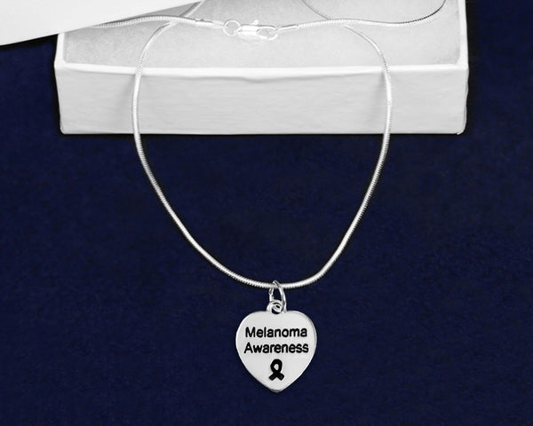 12 Melanoma Awareness Heart Necklaces (12 Necklaces)