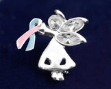 25 Angel By My Side Pink & Blue Ribbon Pins (25 Pins)