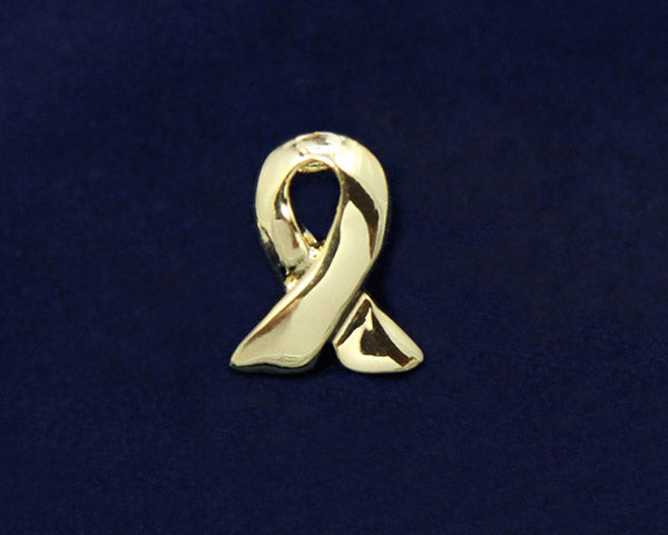 50 Lapel Gold Ribbon Pins (50 Pins)