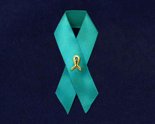 100 Satin Teal Ribbon Awareness Pins (100 Pins)