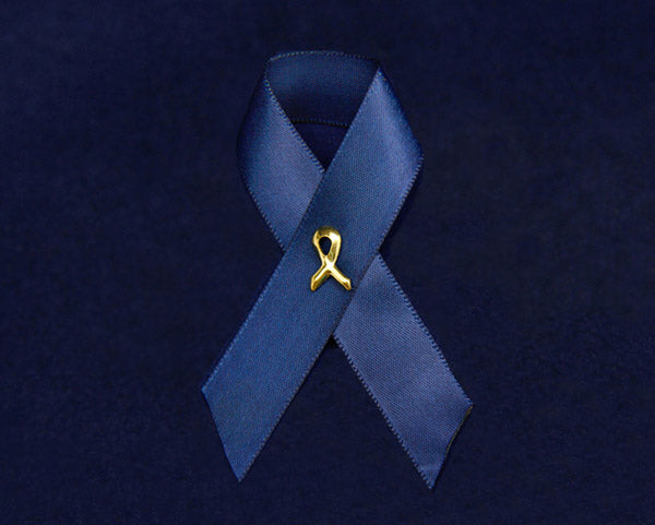 100 Dark Blue Satin Ribbon Awareness Pins (100 Pins)