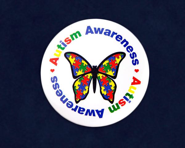 25 Round Autism Awareness Butterfly Button Pins (25 Autism Pins)