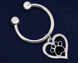 12 Paw Print Heart Key Chains (12 Key Chains)
