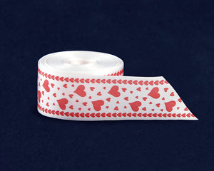 Spool White Satin Ribbon with Red Hearts By The Yard (10 Yard Spool)