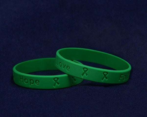 50 Adult Green Awareness Silicone Bracelets (50 Bracelets)