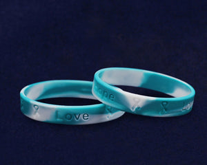 Teal & White Silicone Bracelets, Cervical Cancer Bracelets - Fundraising For A Cause