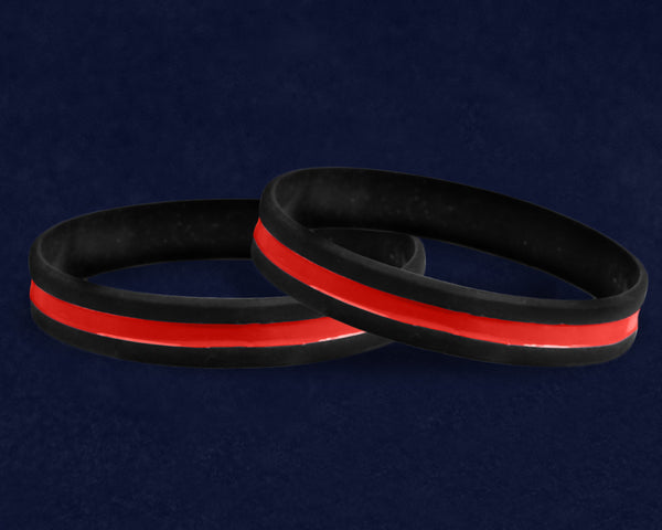 50 Firefighter Support Thin Red Line Silicone Bracelets (50 Bracelets)