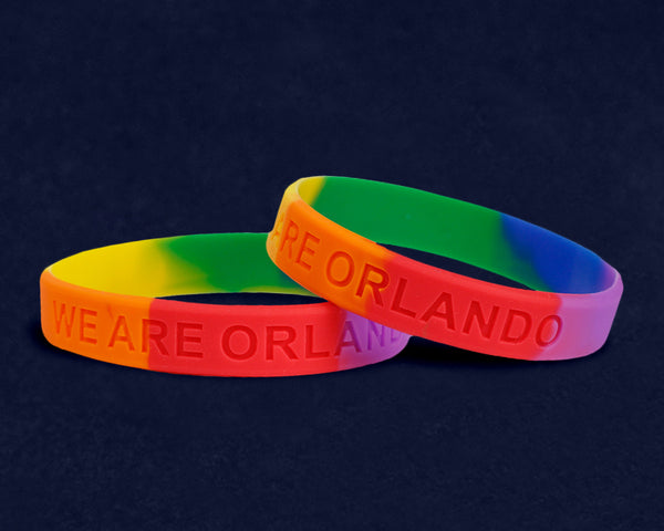 "50 ""We Are Orlando"" Rainbow Silicone Bracelets (50 Bracelets)"
