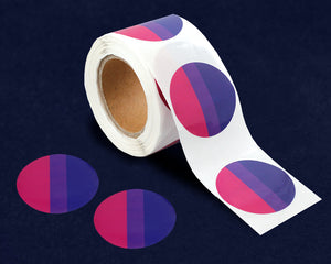 250 Circle Bisexual Pride Stickers (250 Stickers)
