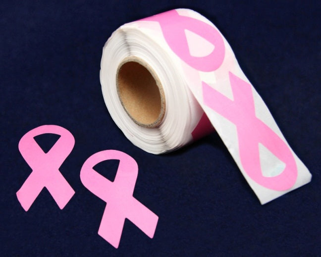 250 Large Pink Ribbon Shaped Stickers (250 Stickers) - fundraisingforacausecom