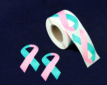 Load image into Gallery viewer, 250 Large Pink & Teal Ribbon Stickers (250 Stickers)