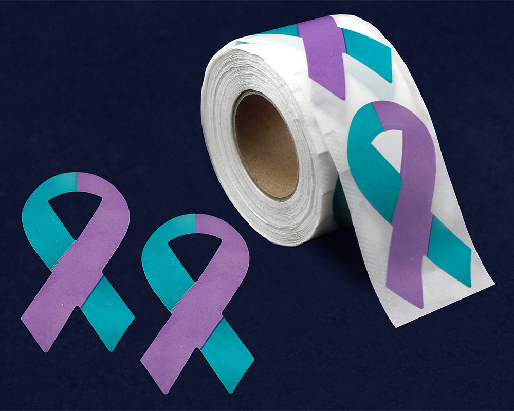 250 Large Teal & Purple Ribbon Stickers (250 Stickers)