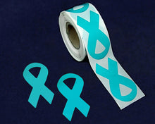 Load image into Gallery viewer, 250 Large Teal Ribbon Stickers (250 Stickers)