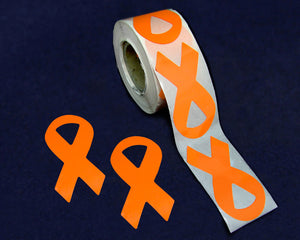 250 Large Orange Ribbon Stickers (250 Stickers)