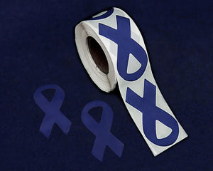250 Large Dk Blue Ribbon Stickers (250 Stickers)