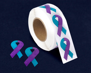 500 Small Teal & Purple Ribbon Stickers (500 Stickers)