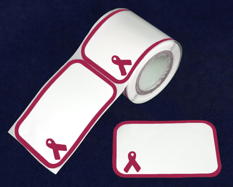 100 Name Badge Burgundy Ribbon Stickers (100 Stickers)