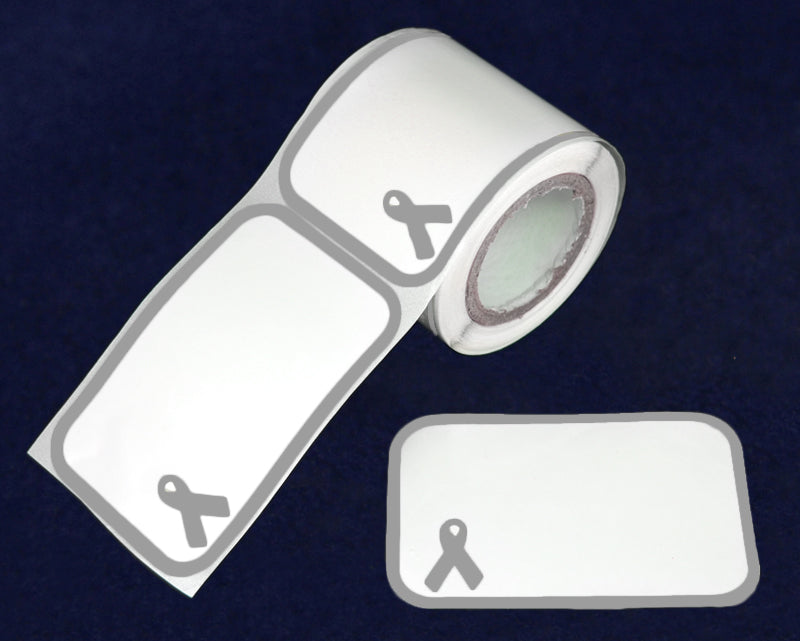 100 Name Badge Gray Ribbon Stickers (100 Stickers)