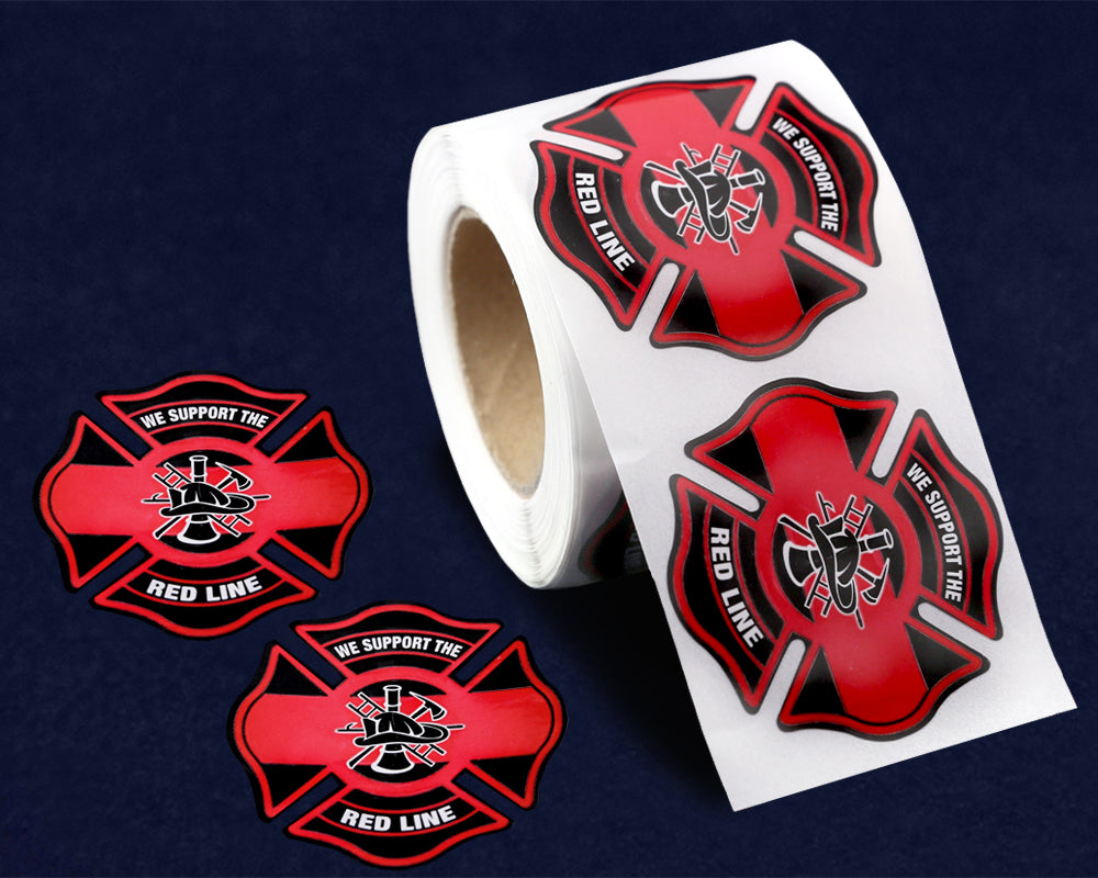 250 Support the Red Line Firefighter Badge Stickers (250 Stickers)