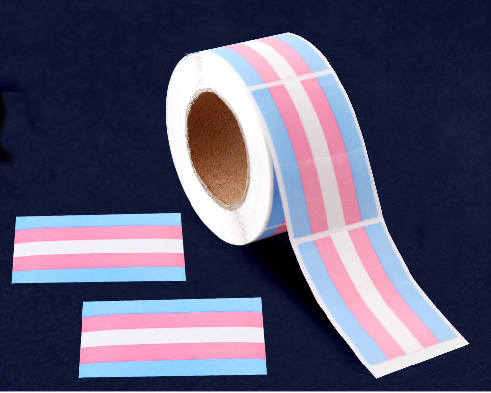 250 Rectangle Transgender Pride Stickers (250 Stickers)