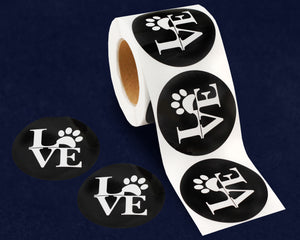 250 Love Paw Print Stickers (250 Stickers)