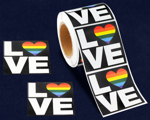 Rainbow Heart Love Square Stickers (250 Stickers)