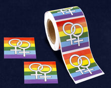 Load image into Gallery viewer, 250 Rainbow Same Sex Female Symbol Square Stickers (250 Stickers)