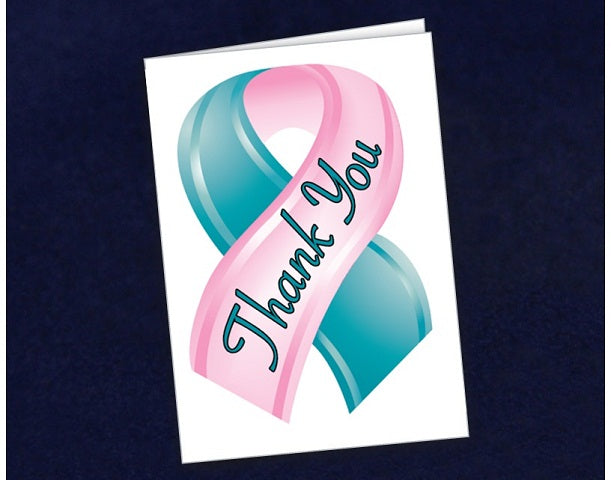 12 Small Pink & Teal Ribbon Thank You Cards (12 Cards)