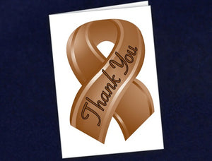 12 Small Brown Ribbon Thank You Cards (12 Cards)