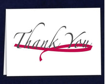 Load image into Gallery viewer, 12 Large Burgundy Ribbon Thank You Cards (12 Cards)