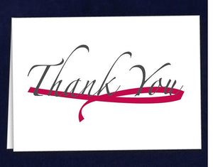 12 Large Burgundy Ribbon Thank You Cards (12 Cards)