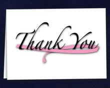 Load image into Gallery viewer, 12 Large Pink Ribbon Thank You Cards (12 Cards)