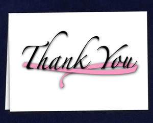 12 Large Pink Ribbon Thank You Cards (12 Cards) - Fundraising For A Cause