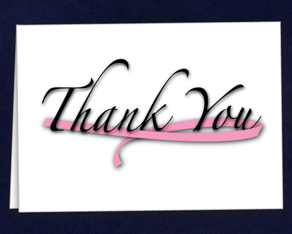 12 Large Pink Ribbon Thank You Cards (12 Cards)