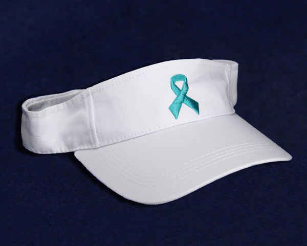 12 Teal Ribbon Visors (12 Visors)