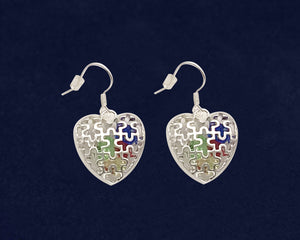 Autism Puzzle Piece Caged Heart Earrings  - Fundraising For A Cause