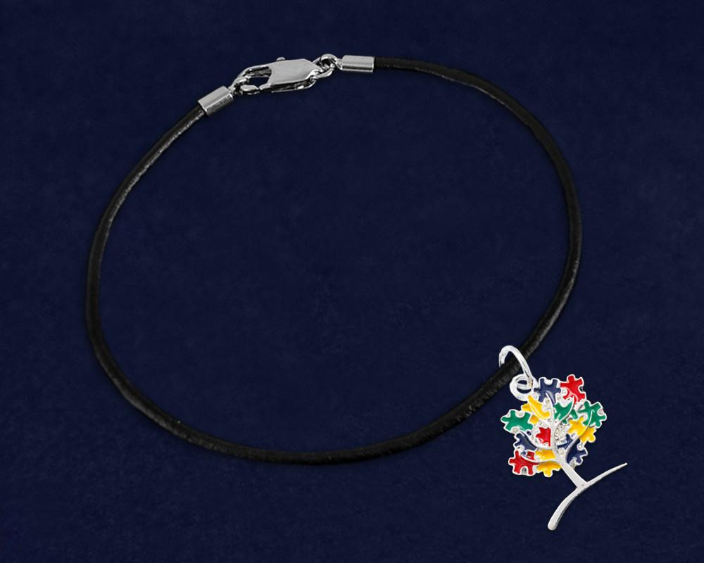 Autism Tree Puzzle Piece Leather Cord Bracelet - Fundraising For A Cause