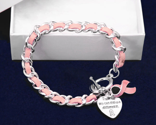 12 Pink Ribbon Leather Rope Bracelets (12 Bracelets)