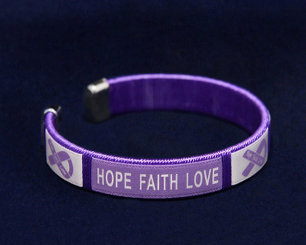 25 Cystic Fibrosis Purple Ribbon Bangle Bracelets (25 Bracelets)