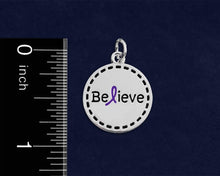 Load image into Gallery viewer, Believe Purple Ribbon Retractable Charm Bracelets - Fundraising For A Cause