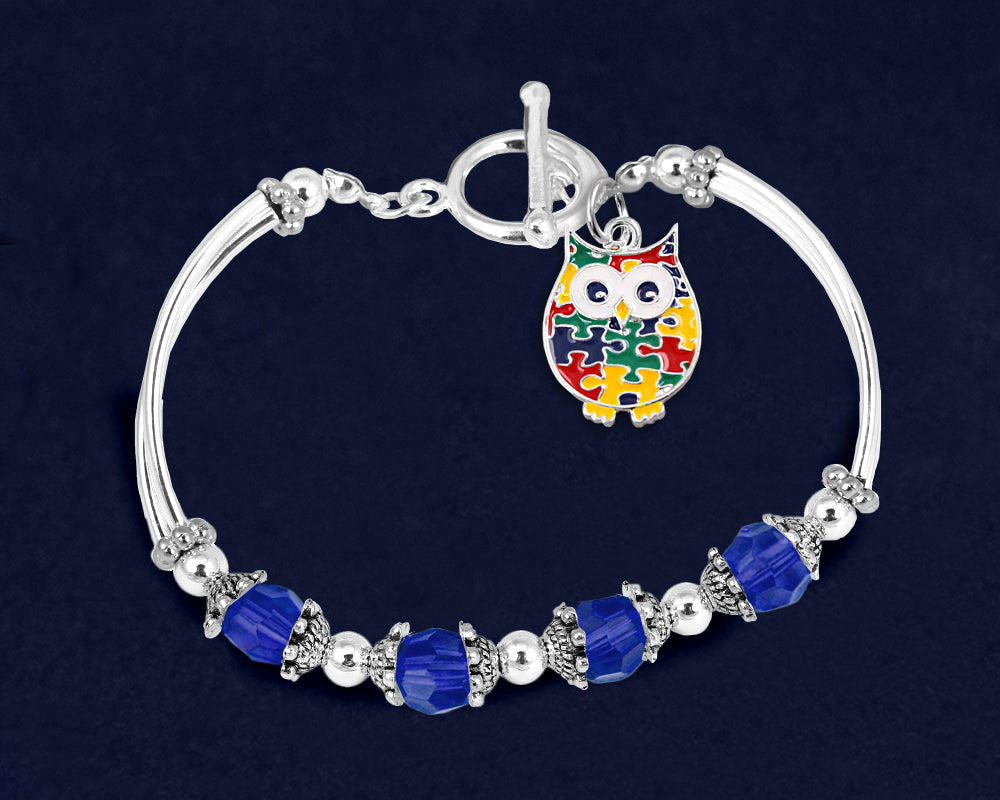 Autism Owl Puzzle Piece Partial Beaded Bracelets - Fundraising For A Cause