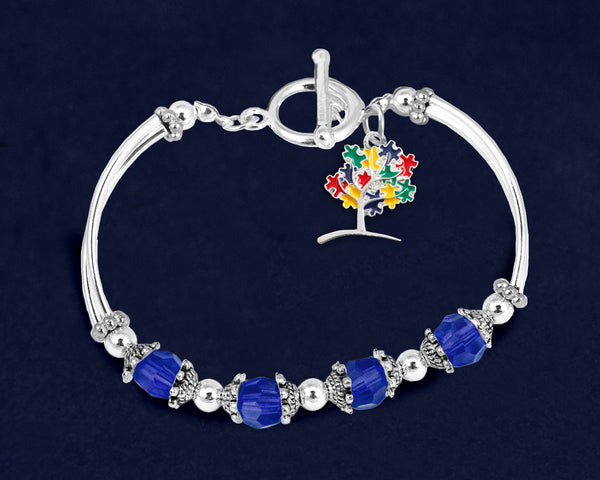 12 Autism Puzzle Piece Tree Partial Beaded Bracelets (12 Autism Bracelets)
