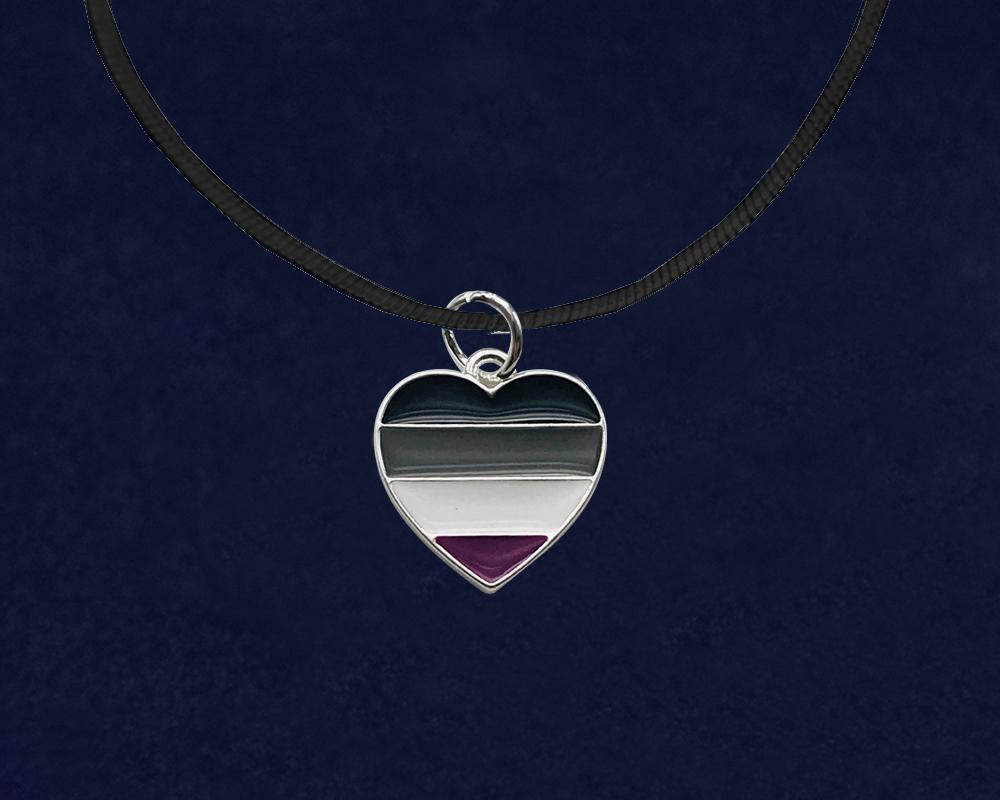 Black Cord Asexual Heart LGBTQ Necklaces - Fundraising For A Cause