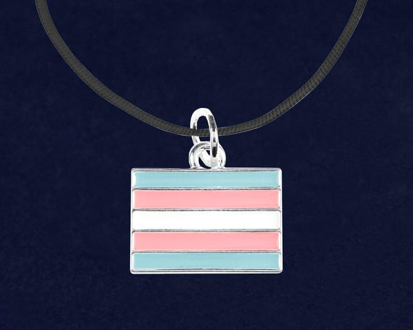 Black Cord Rectangle LGBTQ Necklaces - Fundraising For A Cause