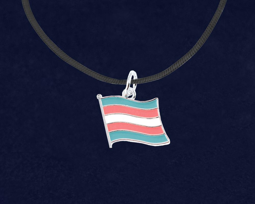 Black Cord Transgender Flag LGBTQ Necklaces - Fundraising For A Cause