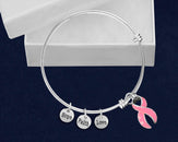 12 Breast Cancer Retractable Bracelets with Pink Ribbon Charms  (12 Bracelets)