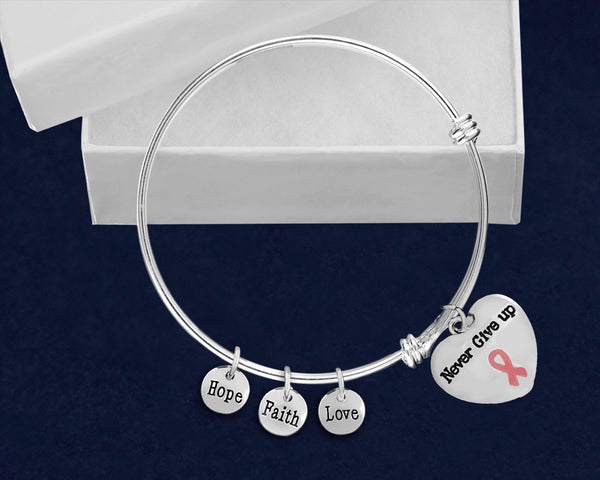 12 Pink Ribbon Retractable Charm Bracelets with Never Give Up Charms (12 Bracelets)