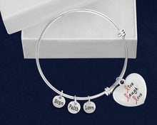 Load image into Gallery viewer, Live Laugh Love Pink Ribbon Retractable Charm Bracelets - Fundraising For A Cause